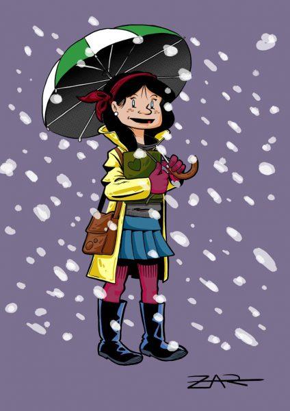 Chica bajo la nieve